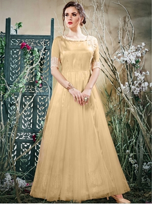 Picture of Beige Net Thread  Party ALine Gown