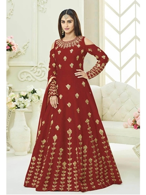 Picture of Maroon Silk Embroidery Wedding & Bridal ALine Gown