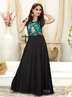 Picture of Black Fancy Printed Party ALine Gown
