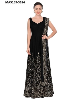 Picture of Black Art Silk Golden Embroidery Ball Gown