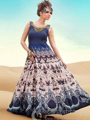 Picture of Embroidery Blue Raw Silk Ball Gown
