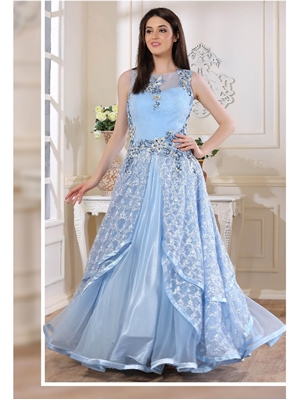 Picture of Blue Satin Embroidery Party ALine Gown