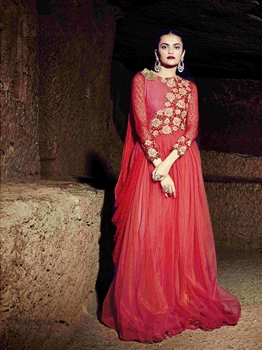 Picture of Red Georgette Embroidery Party ALine Gown