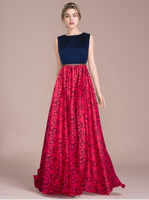 Picture of Red Crepe Printed Party ALine Gown