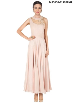 Picture of Beige Color Georgette Embroidery Ball Gown