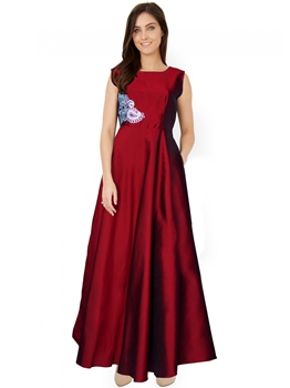Picture of Maroon Tafeta Embroidery Party ALine Gown