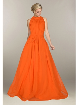 Picture of Orange Georgette Solid Party ALine Gown