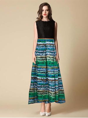 Picture of Green Cotton Printed Party ALine Gown