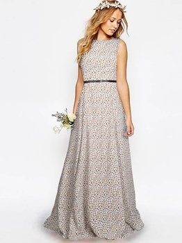Picture of Cream Crepe Printed Party ALine Gown