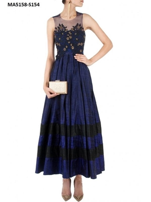 Picture of Blue Embroidery Art Silk Ball Gown