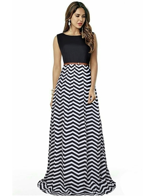 Picture of Black Tafeta Printed Party ALine Gown