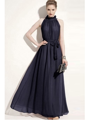 Picture of Black Georgette Solid Party ALine Gown