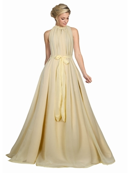 Picture of Cream Georgette Solid Party ALine Gown