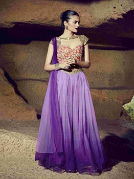 Picture of Purple Art Silk Embroidery Party ALine Gown