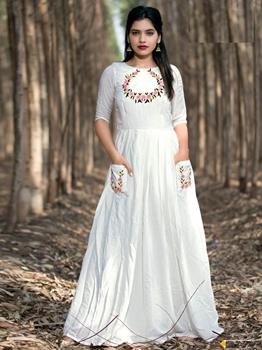 Picture of White Silk Hand Work Party KneeLong Kurti