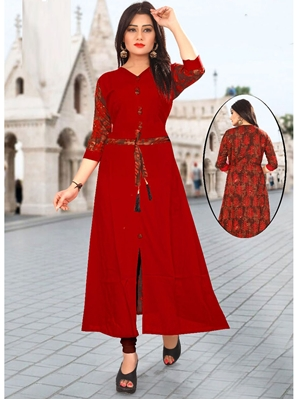 Picture of Red Rayon Ribbed  KneeLong Kurti