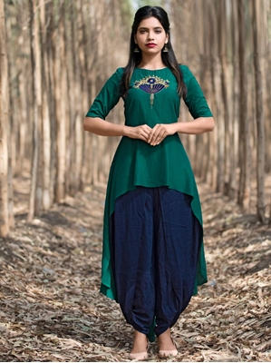 Picture of Green Silk Hand Work Party KneeLong Kurti