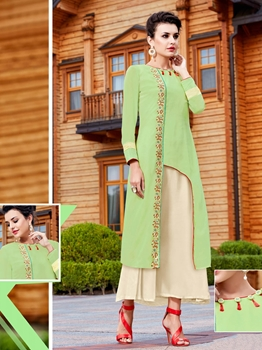 Picture of Green Georgette Printed Party KneeLong Kurti