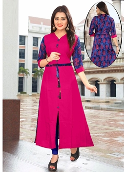Picture of Pink Rayon Ribbed  KneeLong Kurti