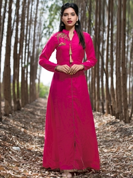 Picture of Pink Silk Hand Work Party KneeLong Kurti