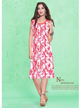 Picture of Red Cotton Printed KneeLong Kurti
