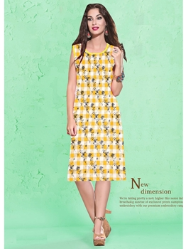 Picture of Yellow Cotton Printed KneeLong Kurti