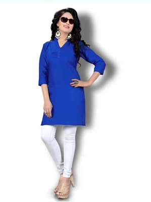 Picture of Blue Cotton Solid  KneeLong Kurti