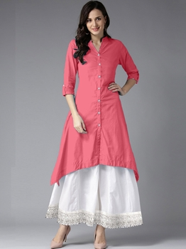 Picture of Pink Rayon Solid Party KneeLong Kurti