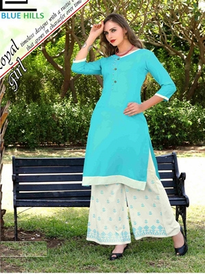 Picture of Blue Rayon Printed Party KneeLong Kurti