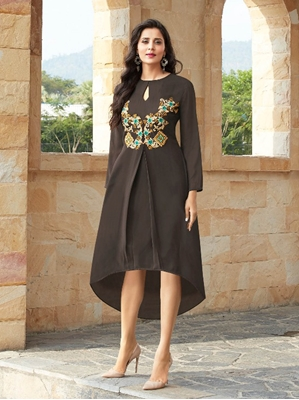 Picture of Brown Georgette Printed KneeLong Kurti