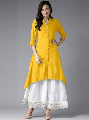 Picture of Yellow Rayon Solid Party KneeLong Kurti