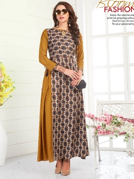 Picture of Brown Rayon Printed KneeLong Kurti