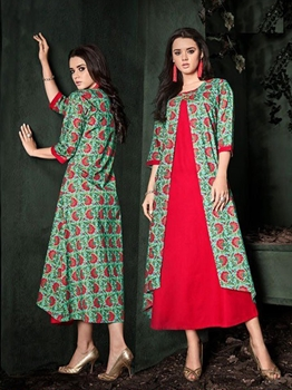 Picture of Red Rayon Printed KneeLong Kurti