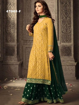 Picture of 47001F Yellow and Dark Green Georgette Plazo Replica Suit