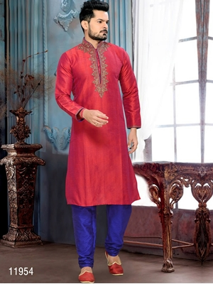 Picture of 11954 2 Tone Marron and Royal Blue Mens Ethnic Wear Kurta Payjama