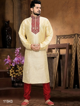 Picture of 11943 Golden and Maroon Mens Ethnic Wear Kurta Payjama