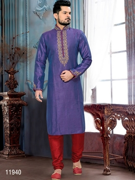 Picture of 11940 2 Tone Purple and Rani Mens Ethnic Wear Kurta Payjama
