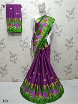 Picture of 1004 Purple Designer Aangi Cotton Saree