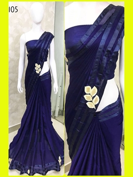 Picture of 105 Navy Blue Designer Georgette Saree