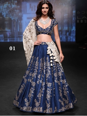 Picture of 01 Navy Blue Bridal Wear Lehenga Choli