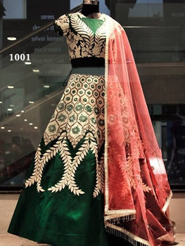 Picture of 1001 Dark Green and Chiku Bridal Wear Lehenga Choli
