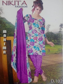 Picture of 102B White and Lavender Printed Salwar Suit