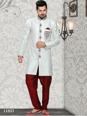 Picture of 11857 Off White and Maroon Mens Ethnic Wear 52 Size Sherwani Suit