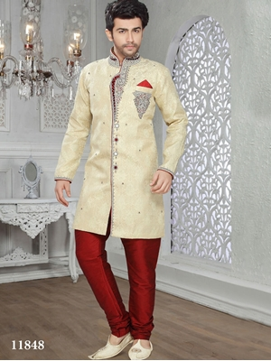Picture of 11848 Golden and Maroon Mens Ethnic Wear 50 Size Sherwani Suit