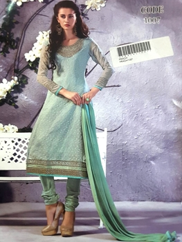 Picture of 1007 Pista Green Designer Georgette Straight Suit