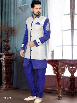 Picture of 11576 Off White and Royal Blue Indo Western Style 46 Size Kurta Pyjama