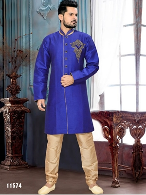 Picture of 11574 Royal Blue and Chikoo Indo Western Style 52 Size Kurta Pyjama