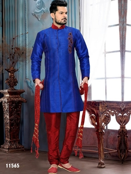 Picture of 11565 Royal Blue and Maroon Indo Western Style 52 Size Kurta Pyjama