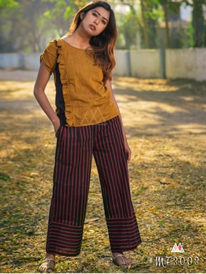 Picture of 3003 Mustard and Black XL Size Western Style Kurtis