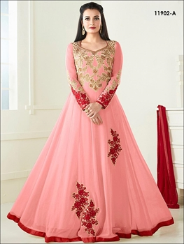 Picture of 11902A Peach Designer Anarkali Replica Suit